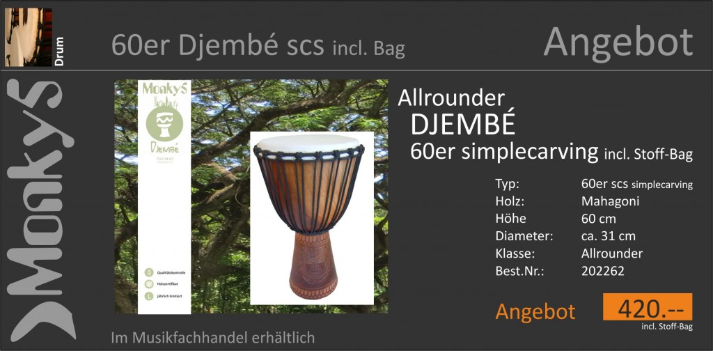 Drum Djembe Monky5 Angebot 60er scs 25.08.2015