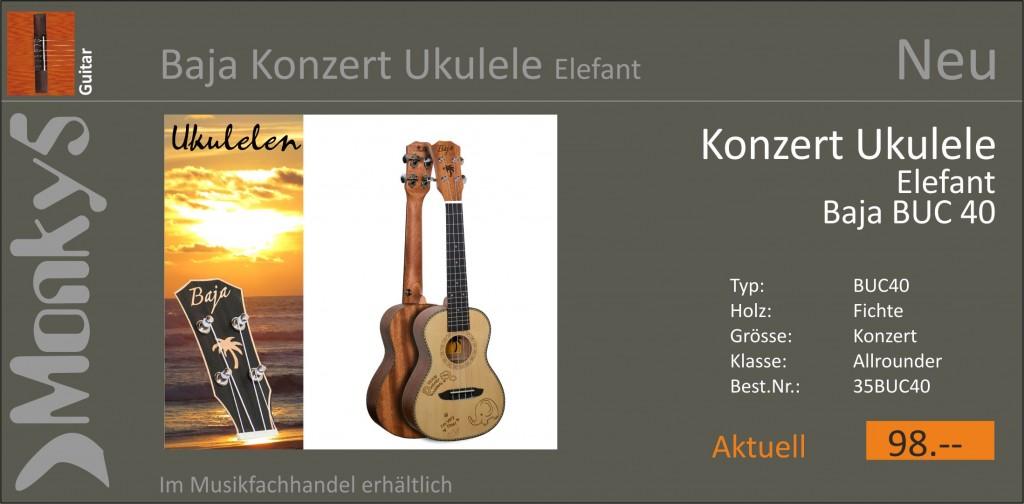 Guitar Baja Ukulele Elefant BUC40 Neu 10.02