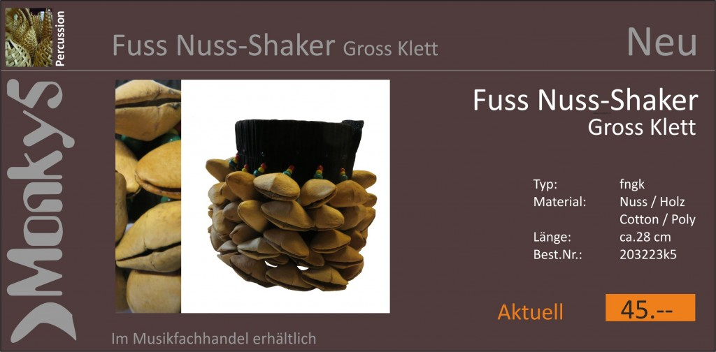 Percussion Fuss Nuss Shaker Gross Neu 09.10