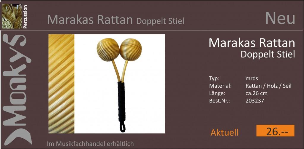 Percussion Marakas Rattan doppelt Stiel Neu 15.10