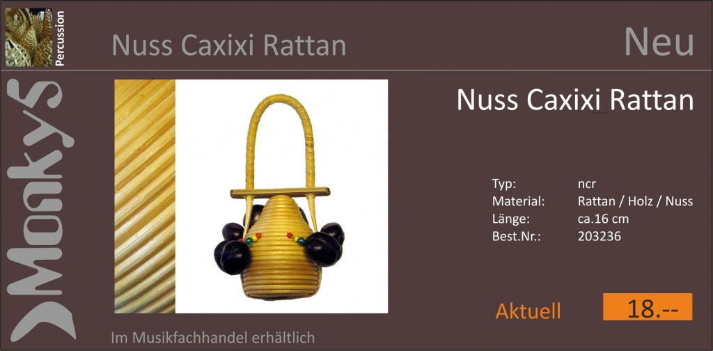 Percussion Nuss Caxixx Rattan Neu 11.10